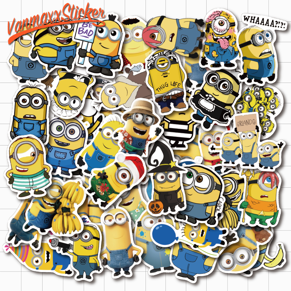 VANMAXX 50 PCS Banana Men Minion Funny Cartoon Graffiti Stickers Waterproof PVC Decal For Laptop Helmet Bicycle Luggage