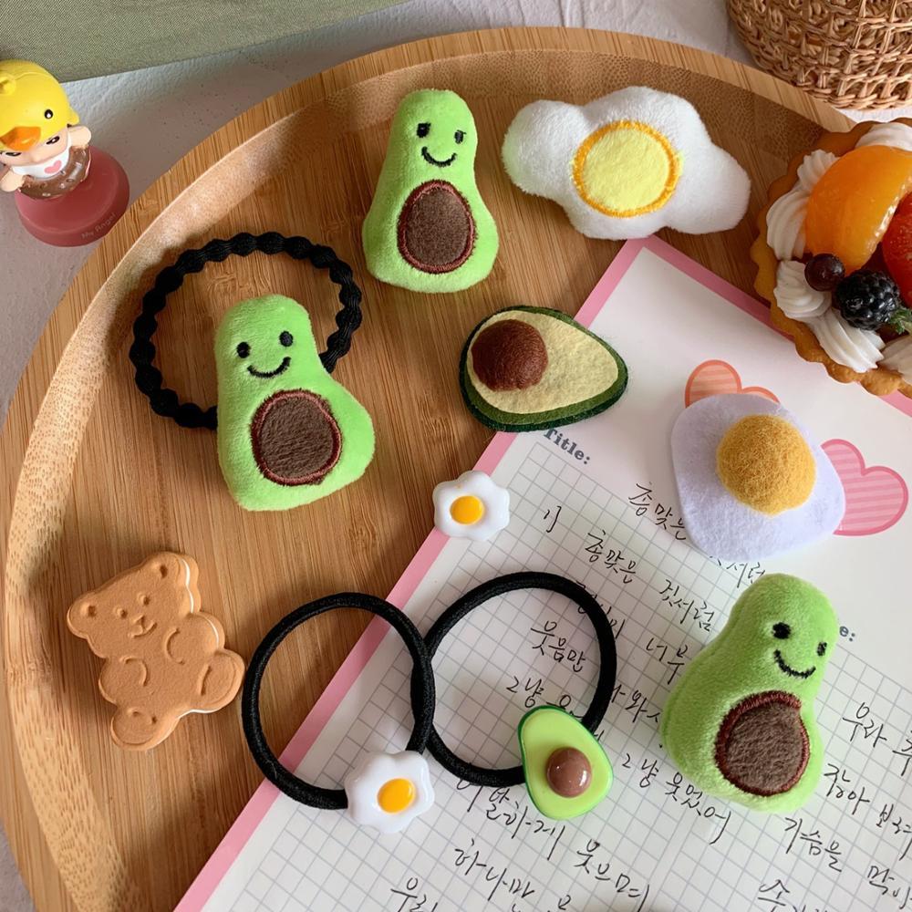 Cute Green Avocado Yellow Egg Hair-band Kawaii Fruit Flower Rubber Bands Women Girls Plush Hair Accessories Gift For Kid
