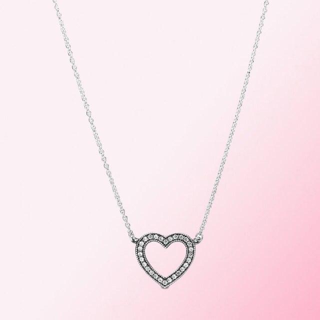 2019 100% 925 argent Sterling classique coeur ouvert collier femmes charme mode personnalité bijoux livraison gratuite en gros