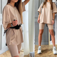 Casual Solid Outfits Women's Two Piece Suit With Belt Home Loose Sports Tracksuits Fashion Leisure Bicycle Suit Summer 1