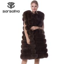 Vrouwen Bont Vest Winter Echt Vossenbont Vest Lange Vrouwelijke Mouwloze O-hals Casual Kleding Voor Dames Luxe Merk 2019 Plus size Nieuwe