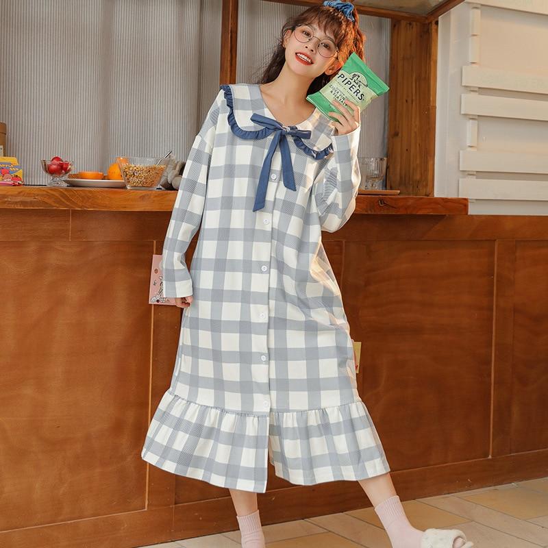 Купить осенне зимняя клетчатая длинная ночная рубашка с длинными рукавами