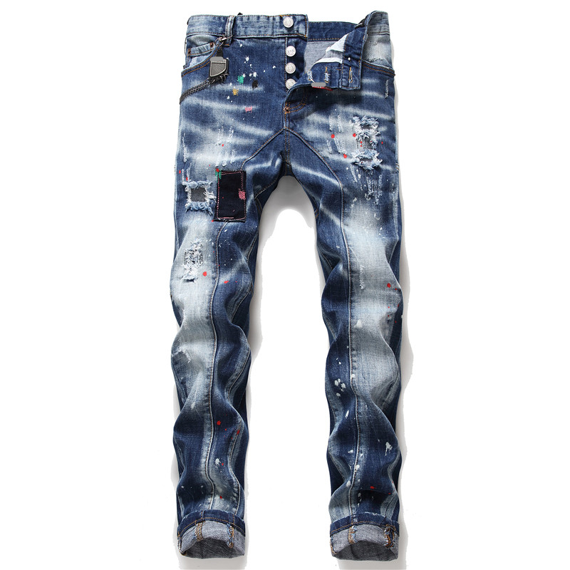 New Men Jeans Stretch Printed Skinny Ripped Jeans For Men Paint Male Trousers Clothes Streetwear Spring Autumn Winter Hip Hop