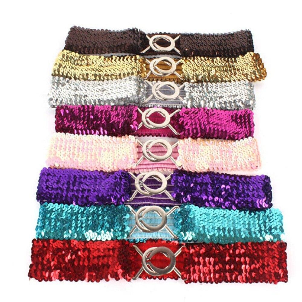 Korean Version Fashion Lady Glitter Elastic Buckle Girdle Belt Women Waist Belts Sequins Waistband Clothing Dress Decorations
