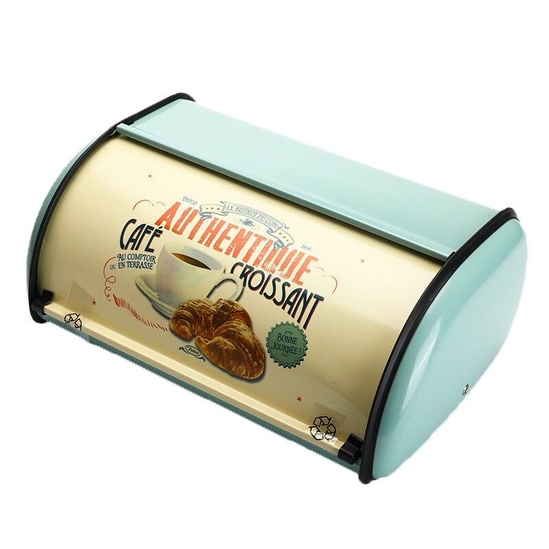 Vintage ekmek kutusu depolama kutusu toplama en açık mavi küçük toz kaplı ekmek demir aperatif kutuları gıda Containerfor mutfak ev de title=