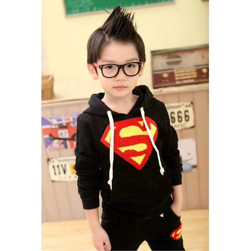 Комплект детской одежды для мальчиков, Спортивная толстовка с длинными рукавами с суперменом+ штаны, коллекция года, весенние комплекты, повседневная одежда для маленьких мальчиков, топы с капюшоном - Цвет: black