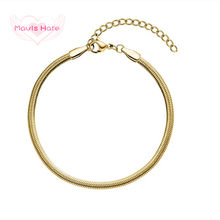 Mavis Hare Stainless Steel Sleek Bracelet New Collection Snake Chain Bracelet as Fashion Lady Woman Christmas Gift(China)