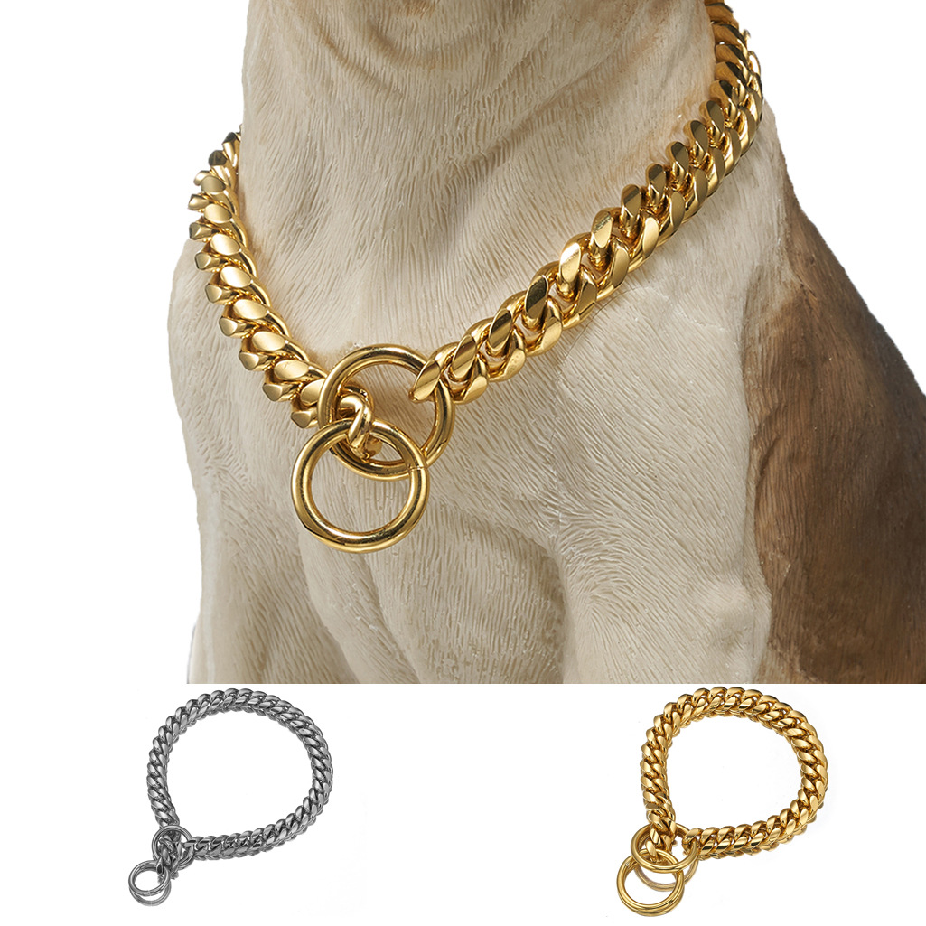 12-Size/14 Size Cuba Pendant Pet Dog Chain Encryption P Pendant Stainless Steel Neck Ring Hand Holding Rope One-piece Electricit