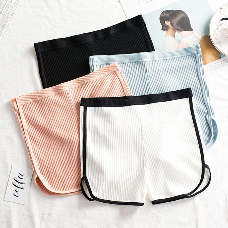 Japanese Women Skinny Safety Pants Thread Ribbed Knit Sleep Lounge Sports Pants Mid Rise Side Slit Solid Color Underpants