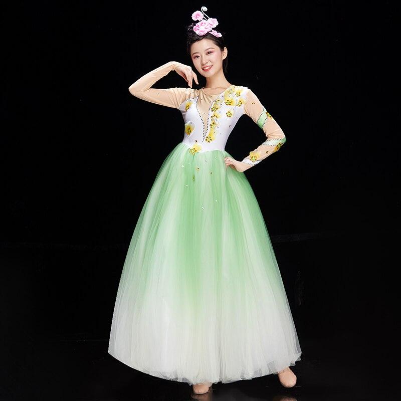 Opening Dance Skirt Dress Costume Female New Modern Song And Dance Atmosphere Big Skirt Large-scale Dance Costume Long Skirt