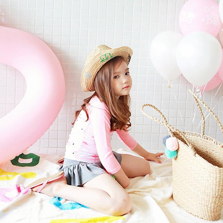 Yong Yi Dynamic New Style Children Long Sleeve Split Type Sun-resistant Bathing Suit GIRL'S Skirt Tour Bathing Suit Girls Cartoo
