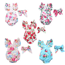 Cute Floral Romper 2pcs Baby Girls Clothes Jumpsuit Romper + Headband Infant Toddler Newborn Outfits For Baby Girl cute newborn baby girl romper clothes 2017 summer polka dot tassel romper baby bodysuit headband 2pcs outfits sunsuit