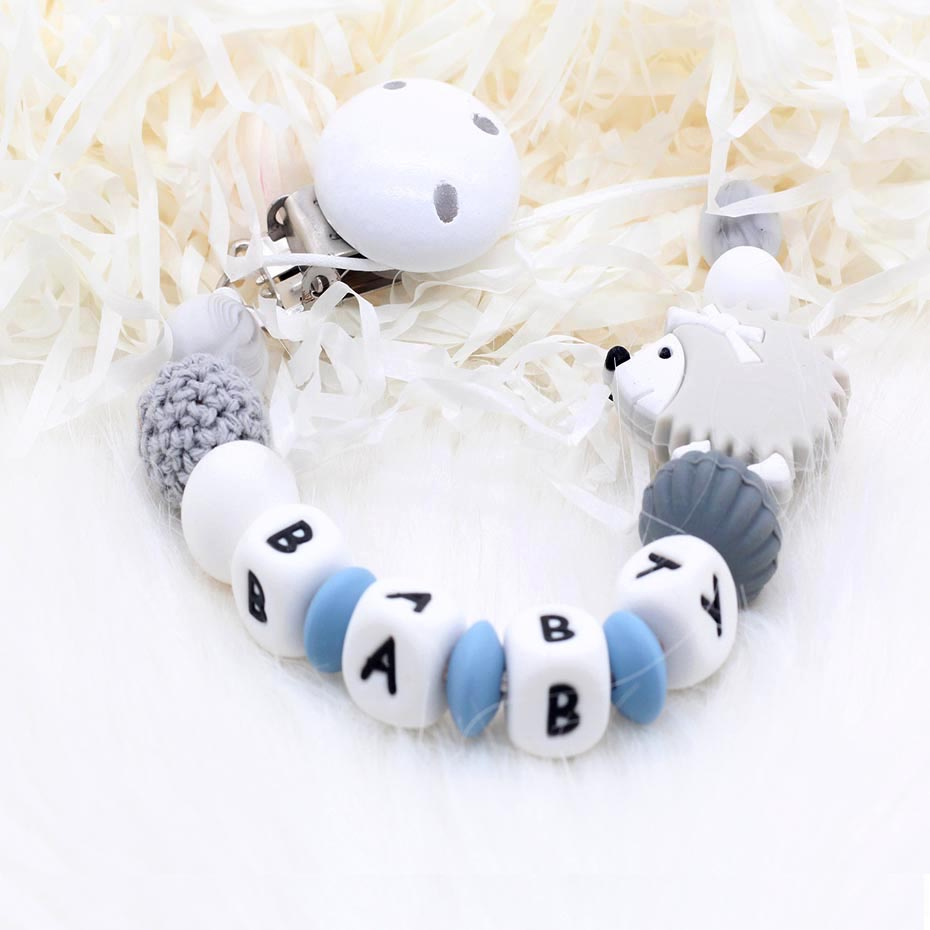 New Personalised Name Wooden Baby Pacifier Clip  Hedgehog Pacifier Chain For Baby Teething Holder Soother Chew Toy Dummy Clips