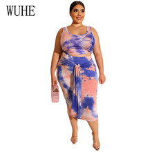 WUHE Large Size 3XL 4XL Tie Dyeing Women Set Crop Top And Bodycon Lace Up Skirts 2 Piece Sets Sexy Elegant Suit Party Outfits