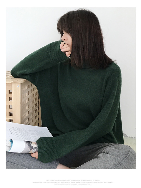Ailegogo Women Pullover Sweater Knitting Autumn Winter Casual Solid Turtleneck Vintage Ladies Thick Tops SW1027 5