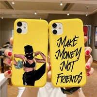 Funda de silicona para iPhone, carcasa negra Afro para hacer dinero, sin amigos, para iPhone 12 Pro Max 11 Pro XR X XS SE 7 8 6 Plus