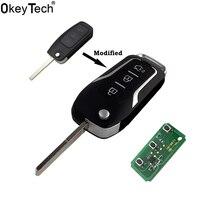 Okeytech chave remota de carro  433mhz 4d63 chip 3 botão modificado flip dobrável chave para ford 2 3 mondeo focus lâmina hu101 sem corte fiesta