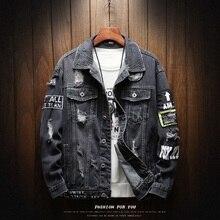 Мужская джинсовая куртка, модная повседневная свободная ковбойская куртка из хлопка высокого качества с заплатками для мотоциклистов и байкеров