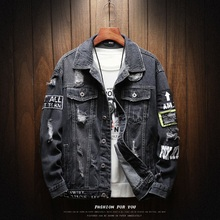 Homens denim jaquetas moda casual solto tendência moto & motociclista remendo impressão buraco denim casacos de alta qualidade algodão cowboy jaquetas
