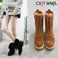 Bottes de neige mode daim mi tube femmes bottes à lacets en peluche bottes chaudes imperméable antidérapant coton chaussures hiver femmes chaussures