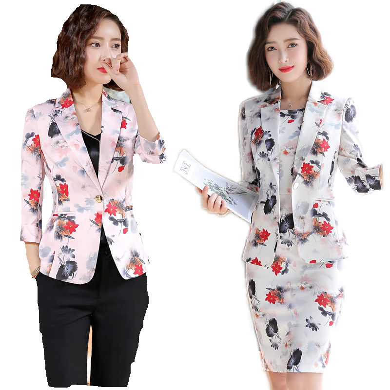 Vintage Printed Flower Dress Blazer Women Dresses Jacket Women's  Dress Suit Set Office Wear For Ladies Evening Elegant Costumes