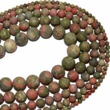Frete grátis maçante polonês fosco pedra natural unakite redonda solta contas 4 6 8 10 12mm escolher tamanho para fazer jóias diy pulseira