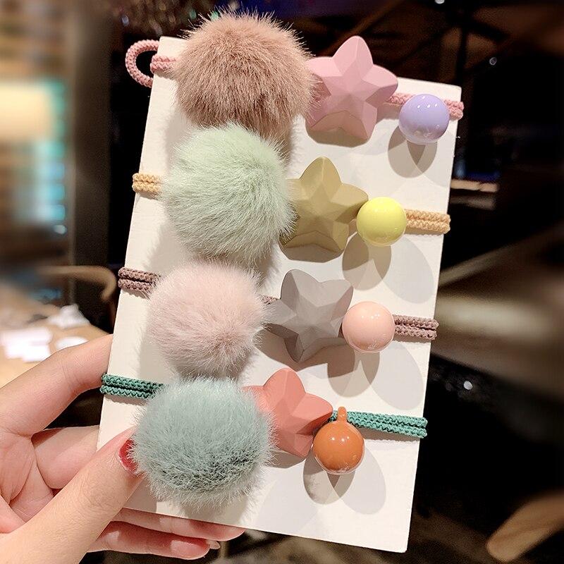 New Women Cute Colorful Faux Fur Ball Star Elastic Hair Bands Sweet Scrunchie Headband Ponytail Holder Fashion Hair Accessories