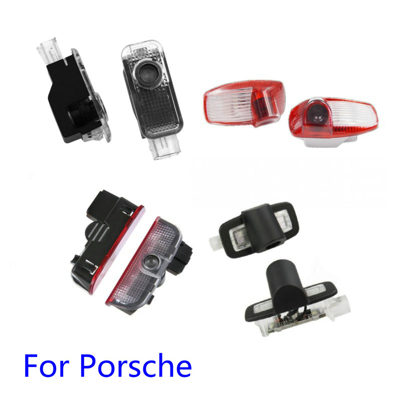 For Porsche Panamera Cayenne Boxster Cayman Macan 911 S4 Carrera4 Car Led Door Welcome Light Projector Logo Ghost Shadow Light
