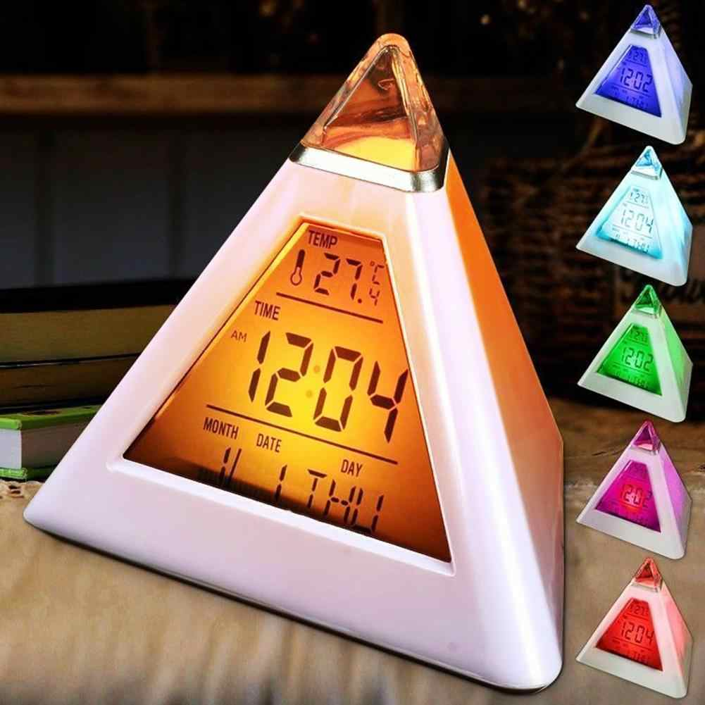 Table Clocks Triangled 7 Colors Changing  LED Temperature Week Display Digital Alarm Clock Table Decor Clocks