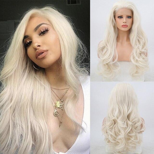 Charyzma wolna część naturalne długie ciało fala platyny blond wysokiej temperatury do włosów syntetyczna koronka peruka front dla kobiet koronkowe peruki