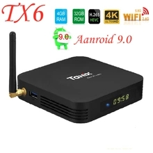Smart TV Box Android 9.0 Allwinner Tanix TX6 H6 4GB GB 64 32GB Apoio 2.4G/5GHz Wi-fi BT4.1 4K H.265 Bluetooth 4.0 Set Top Box