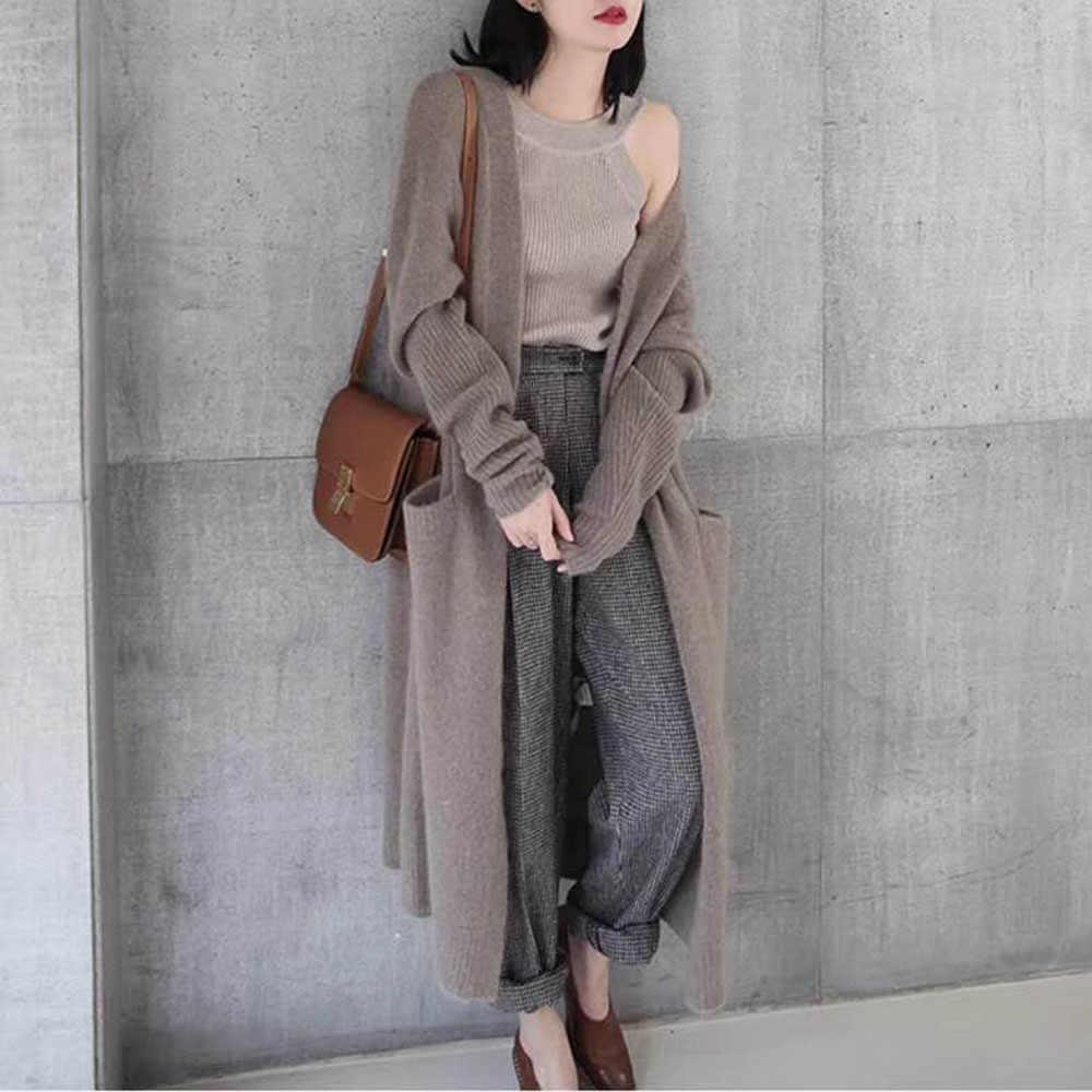 Women Sweater Cardigan Autumn Winter Thick Warm Solid Simple Knitwear Loose Korean Street Fashion Black Long Knitted Top 2020 Aliexpress