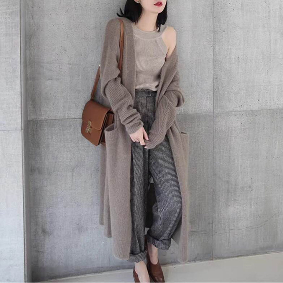Women Sweater Cardigan Autumn Winter Thick Warm Solid Simple Knitwear Loose Korean Street Fashion Black Long Knitted Top 2020 Aliexpress