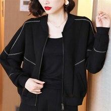 Черный пространство хлопок куртки женские короткие пальто с О-образным вырезом Длинные рукава уличная одежда с застежкой-молнией простой с...