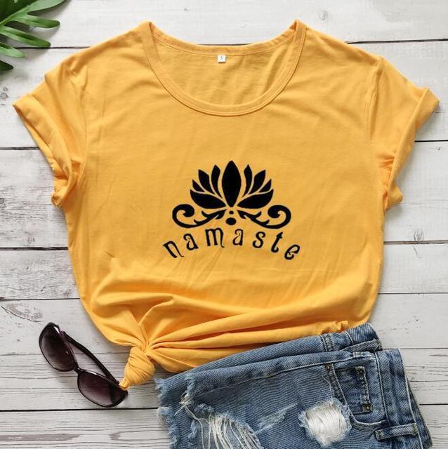 100% Cotton Women T Shirt Namaste Lotus Printed Tshirt Ladies Short Sleeve Tee Shirt Women Female Tops Clothes Camisetas Mujer 2
