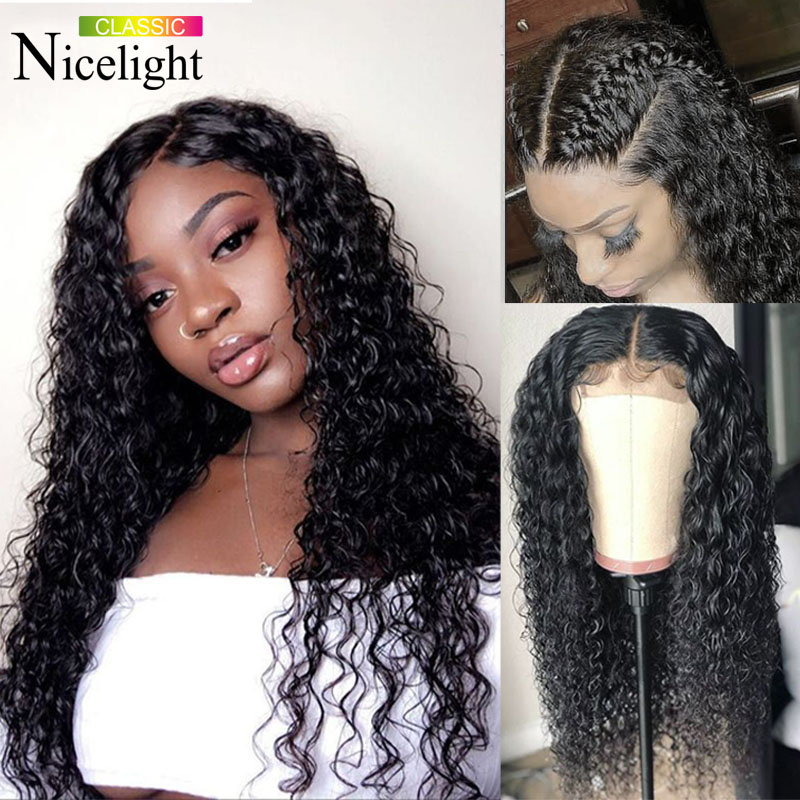 Nicelight Hair Deep Wave Wig  4X4 Lace Closure Wig Peruvian Human Hair Wig Remy Hair Wig Natural Color Hair Wig For Black Women