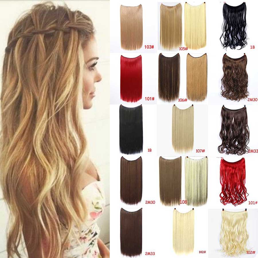MUMUPI 22 Inches Invisible Wire No Clips In Hair Extension Secret Fish Line Hairpiece Silky Curly Hair Extension