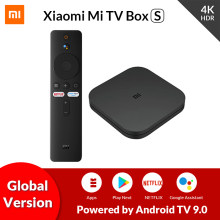 Original global xiaomi mi caixa de tv s 4k ultra hd android tv 9.0 hdr 2g 8g wifi google elenco netflix smart tv mi caixa 4 media player
