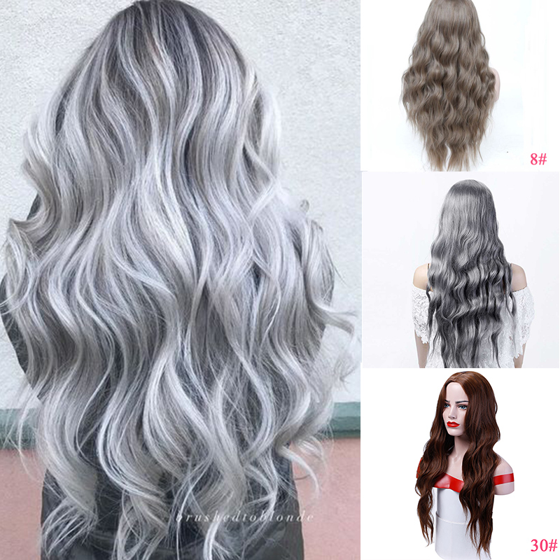 DIANQI Long Silver Sivery Argent  Wigs With Bangs Heat Resistant Synthetic Wavy Wig For Women Eu African American Fashion Hairs