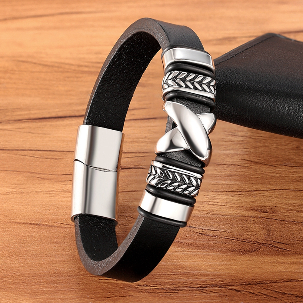 """Classic Small Accessories Combination Men's Stainless Steel Leather Bracelet """"X"""" Pattern Special Design Party Birthday Gift"""