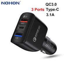 3Port QC3 0 + USBC + 3 1A ładowarka samochodowa USB dla iPhone 12 11 6 7 8 Plus Samsung A51 S20 Xiaomi mi Huawei telefon komórkowy 12V szybki Adapter tanie tanio Nohon Zużytego sprzętu elektrycznego i elektronicznego ROHS nemko MSDS Qualcomm szybkie ładowanie CN (pochodzenie) 2 porty
