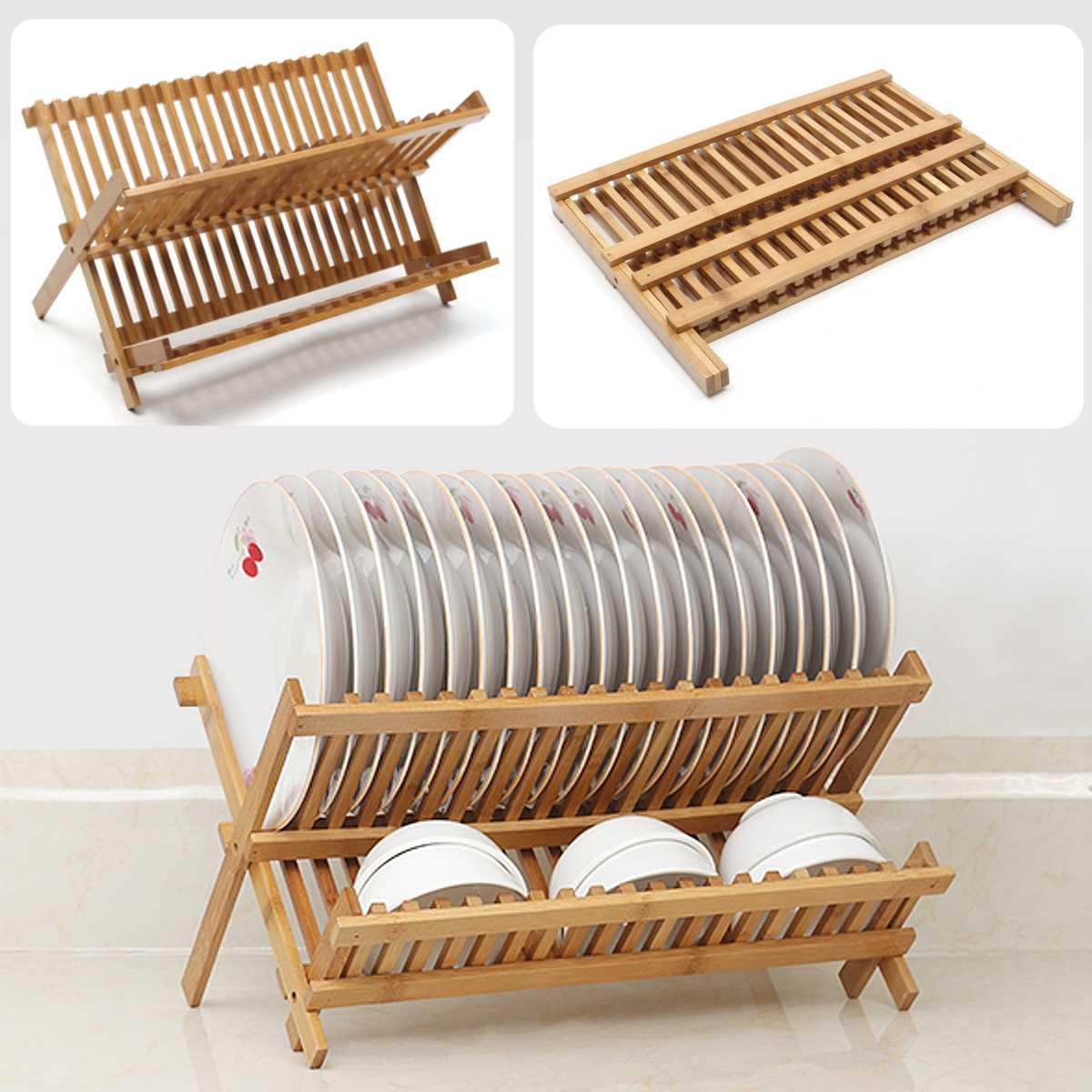 Folding Bamboo Dish Rack Drying Rack Holder Vegetable Fruit Flatware Storage Holder Drainer Wood Kitchen Sink Drain Basket