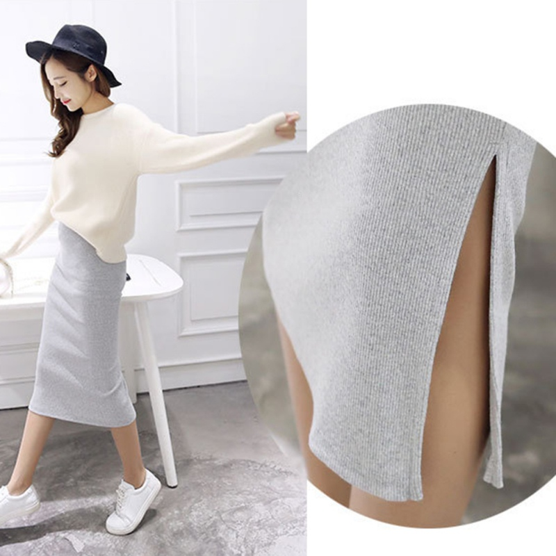 2019 Spring Autumn And Winter Package Hip Skirt Slit Skirts Women Step Skirt Stretch Slim Thin Female Waist Skirts Long Skirts