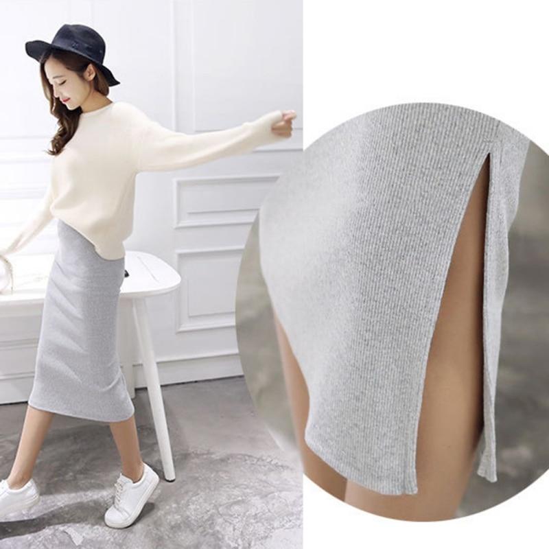 2019 Spring Autumn And Winter Package Hip Skirt Slit Skirts Women Step Skirt Stretch Slim Thin Female Waist Skirts Long Skirts