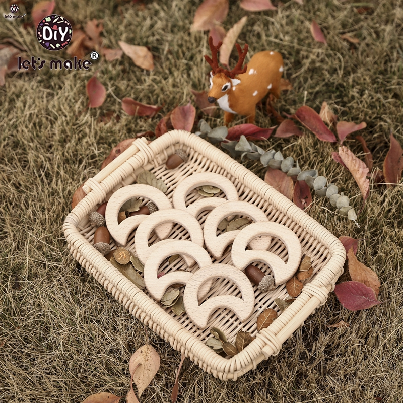 Let'S Make 58mm 10pcs Beech Wooden Teether Moon Wooden Teethers Toys Wood Teether Bpa Free Beads Baby Teether