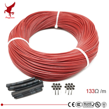 цена на 3k 133ohm silicone rubber carbon fiber heating cable 5V-220V floor heating low cost high quality infrared heating wire