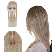 Real Human Hair Toppers Without Bangs For Loss Hair Highlighted Color 18/613 8inch Machine Remy Hair Straight Toppers Clip in