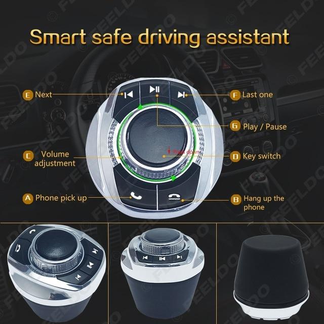 Feeldo nova forma de copo com luz led 8-funções chaves botão de controle do volante do carro sem fio para o jogador de navegação android do carro 5