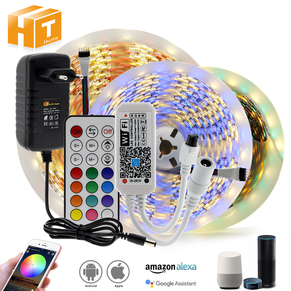 WIFI   Bluetooth RGB RGBW LED Strip Set DC12V LED Strip 5050 5m 300LEDs   WIFI   Bluetooth Controller   Power Adapter