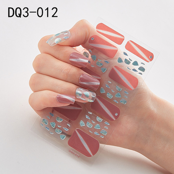 14pcs/sheet Glitter Gradient Color Nail Stickers Nail Wraps Full Cover Nail Polish Sticker DIY Self-Adhesive Nail Art Decoration 40